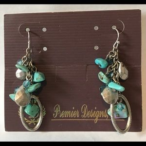 Premier Designs Turquoise Chip Silver-tone Earring